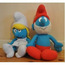 Papa & Smurfette Smurf Large Soft Cuddly Plush Kids Toys Bundle