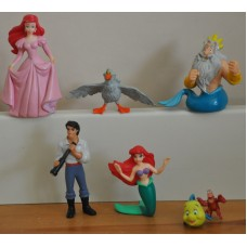 Disney Little Mermaid Ariel Flounder Sebastian Prince Eric King Triton Figures