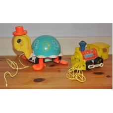 Vintage Fisher Price Train 643 1964 & Turtle 773 1962 Pull Along Bundle Kid Toys